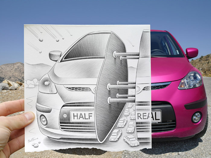 Amazingly Creative Drawing Vs Photography by Ben Heine! 10 Pics